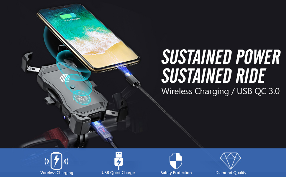 ILM Motorcycle Phone Mount Wireless Charging USB Quick Charge 3.0 Sustained Power Ideal for Riding