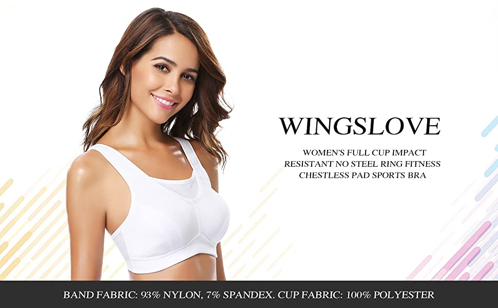 Wingslove Women's Full Coverage High Impact Wirefree Workout Non Padded Sport Bra
