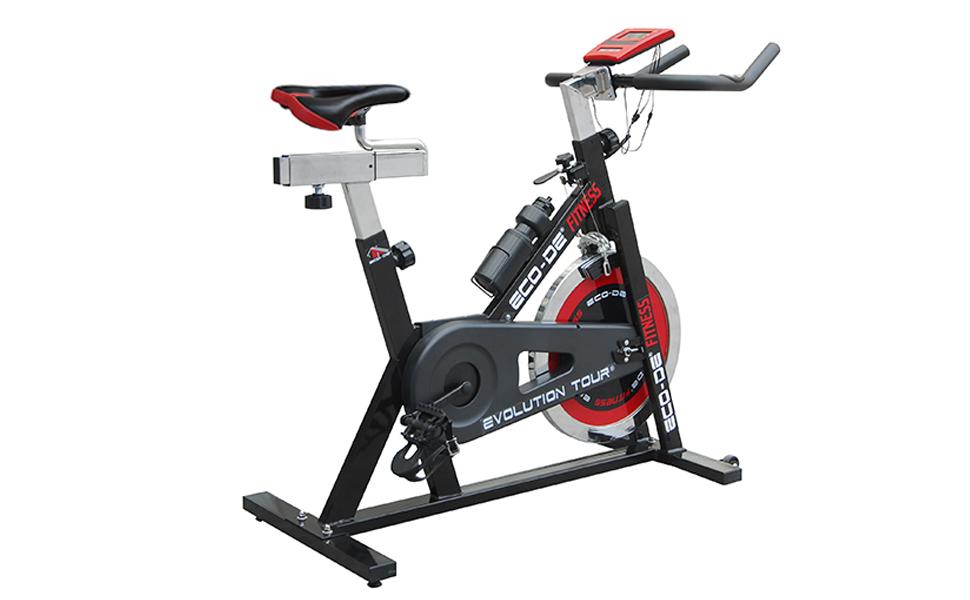 ECO-DE Bicicleta de Spinning Evolution Tour. Uso semiprofesional con pulsómetro, Pantalla LCD y Resistencia Variable. Estabilizadores. Completamente Regulable. Rueda de inercia de 21kgrs: Amazon.es: Deportes y aire libre