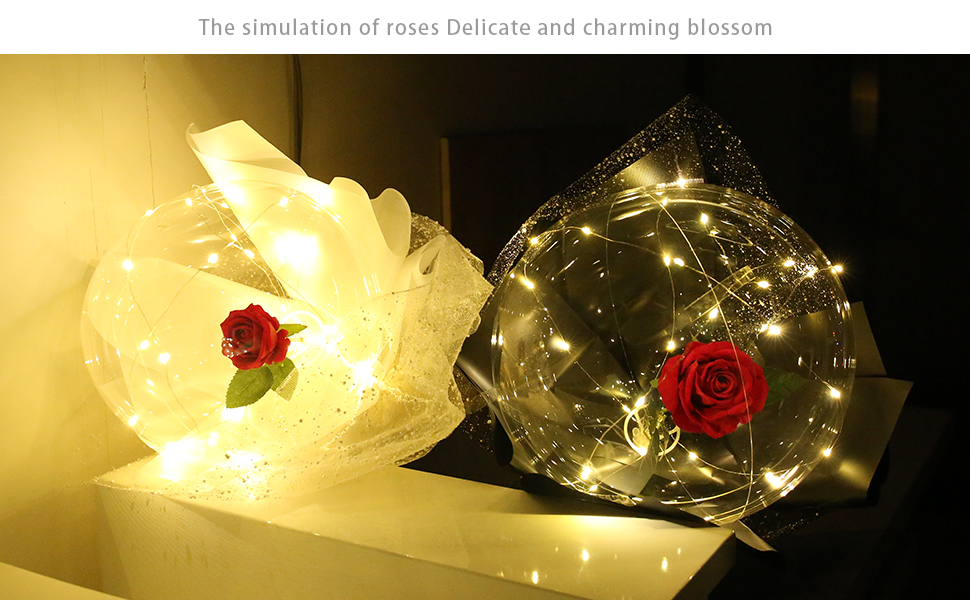 LED Light Transparent Balloon with Rose Flower Bouquet LED Luminous Bobo Ball