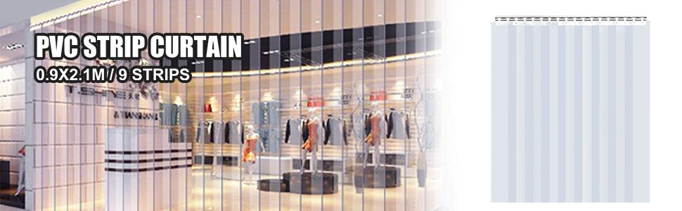 Casas Tiendas Cortina Puerta PVC Ancho Total 2 m para Supermercados F/ábricas etc VEVOR Cortina Puerta PVC Transparente Impermeable Material Impermeable Transparente PVC 13 Tiras Total 2 x 3 m