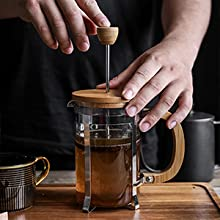 french coffee press glass pot