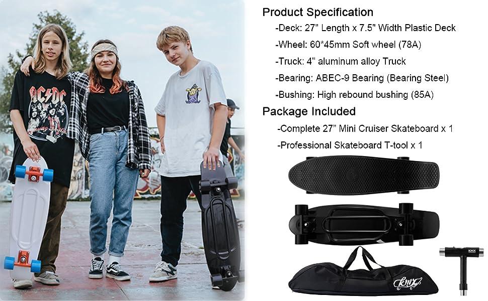 27 inch cruiser skateboard for mens womens youth