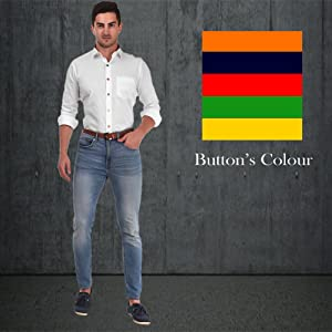 White shirt with Multicolored button