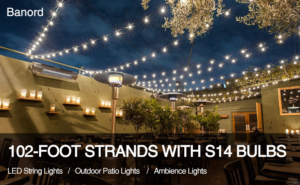 Amazon Com Banord 102ft Dimmable Led Outdoor String Lights 34 Hanging Sockets With 35 X Shatterproof Led Bulb Party Lights Waterproof Vintage Ambiance Patio Lights String For Wedding Gatherings Garden Outdoor