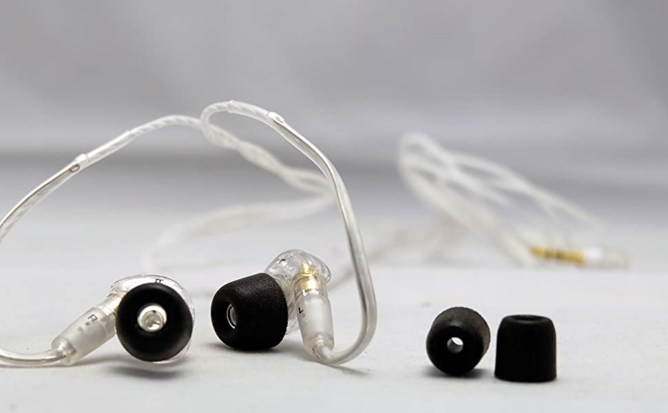 Close up of replacement ear tips on earbuds