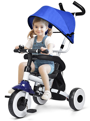 Folding Lightweight Baby Stroller Foldable Kids Tricycle Bike Safe Stable Toddler Stroller with 360/° Casters Maximum Load 30KG AYNEFY Portable Baby Trike