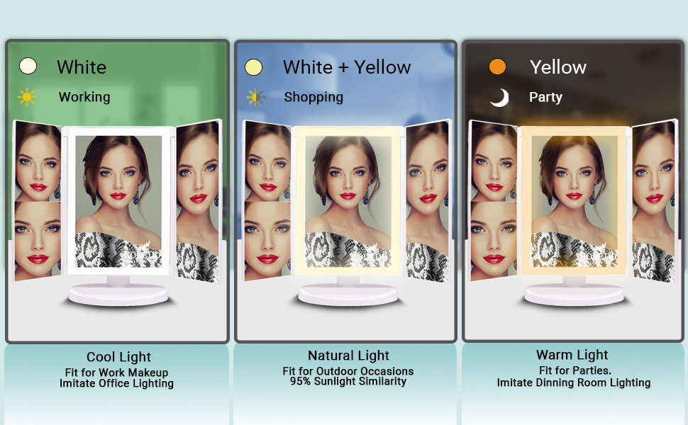 Makeup mirror 3 color lighting, white, natural daylight, warm, cold,