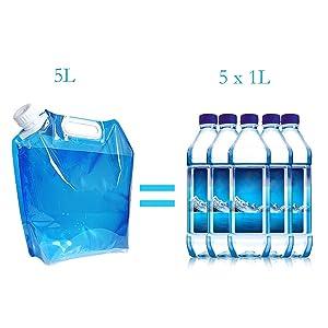 Faltbarer 5L Wasserkanister Wasserbeh/älter Trinkwasser Beh/älter f/ür Festival Wandern Camping Picknick und Reise