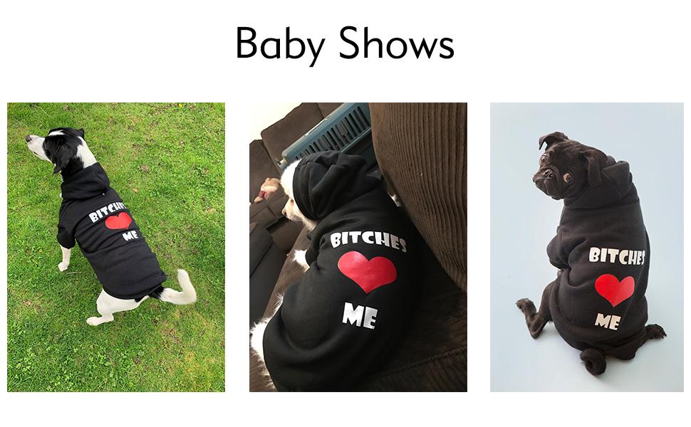 EXPAWLORER Bitches Love ME Dog Hoodies Fleece Sweater Shirt Black