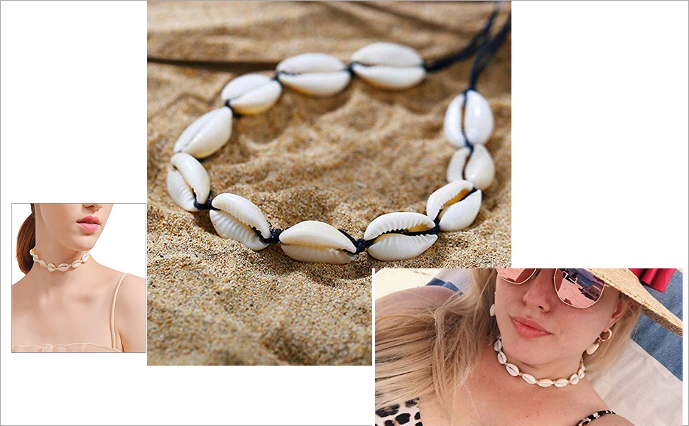 VEZARON 4 Pieces Cowrie Shell Choker Necklace for Women Hawaiian Seashell Pearls Choker Necklace Statement Adjustable Cord Necklace Set