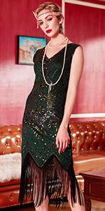 Radtengle 20s Flapper Beaded Sequin Dress