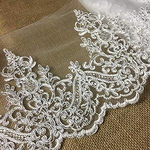 1 Yard 11cm Wide Ivory Beaded Bridal Sequins Lace Trim DIY Bridal Veil Dress