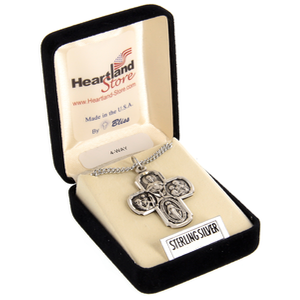 Sterling Silver Four Way Cross with Gift Box