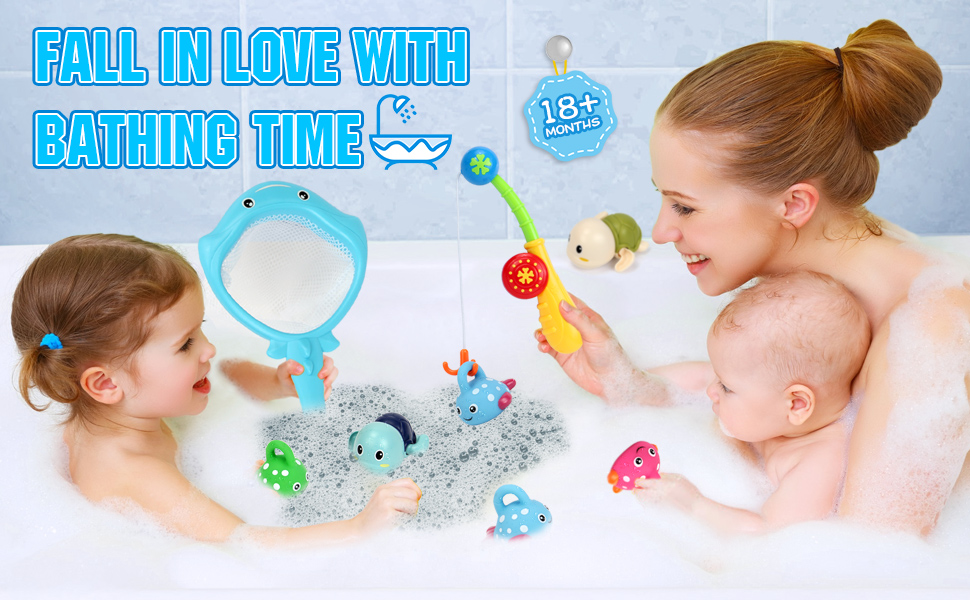 Bath Toys Water Toys with Fishing Game Floating Fish Swimming Tortise for Pool Bathtub Toddler -1