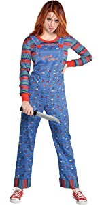 womens sexy horror movie character costume killer 80s warm comfortable easy chucky doll scary spooky