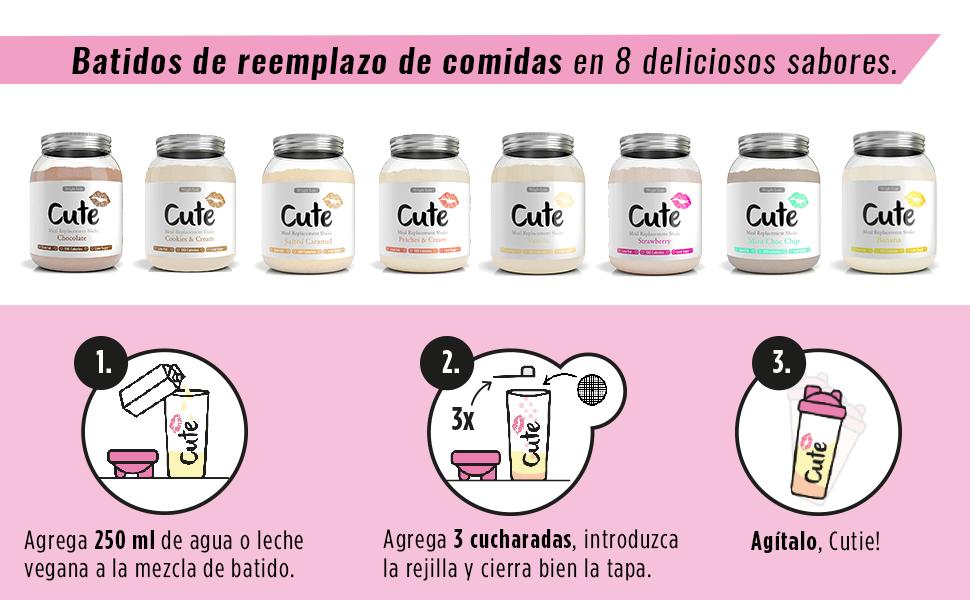 Cute Nutrition Batido Sustitutivo de Comida Sabor Vainilla para el ...