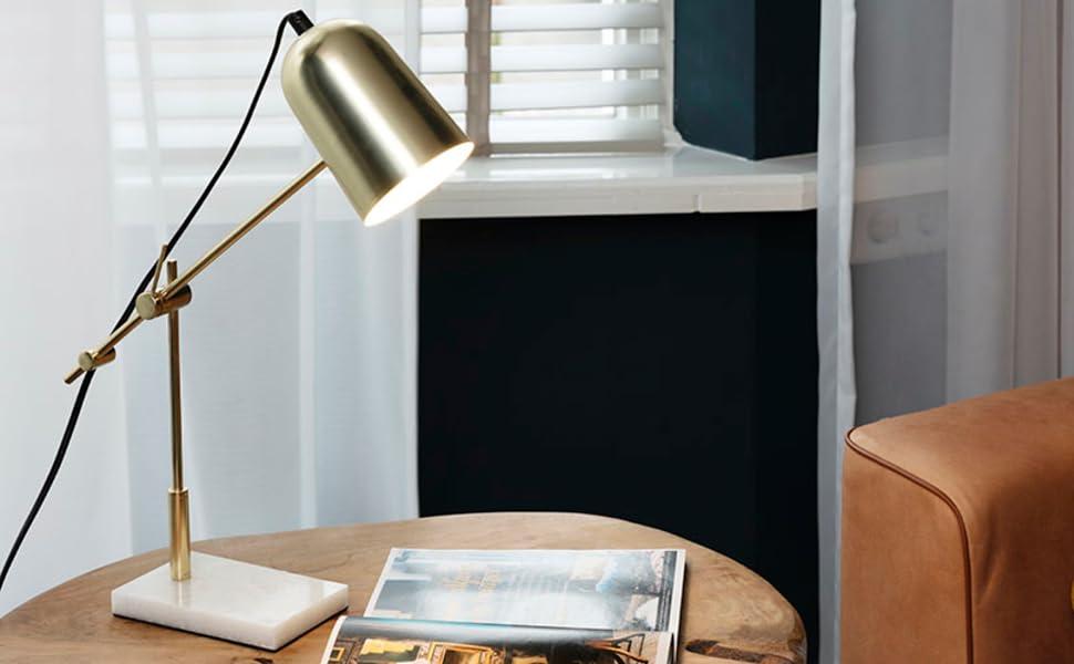 Lampe Tischlampe Tischleuchte Nachttischlampe Nachttisch Marmor Weiß Gold