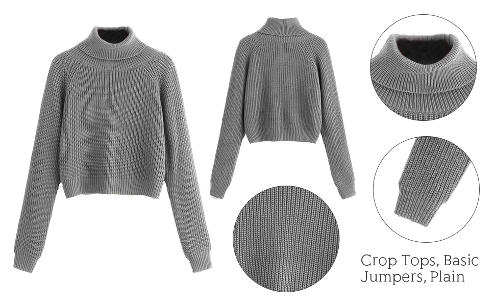 Crop Pullovers Basic Jumpers Plain Office Dating Tops