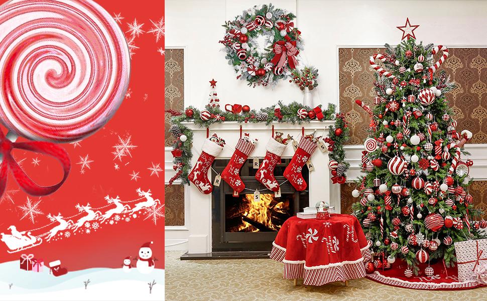 Decorazioni Natalizie Caramelle.Valery Madelyn Palle Di Natale 16 Pezzi 8cm Palline Di Natale Dolci Caramelle Rosse E Bianche Infrangibili Decorazioni Per Palle Di Natale Per Decorazioni Per Alberi Di Natale Amazon It Casa E Cucina