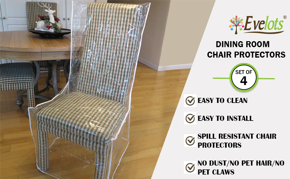 Dirt Pet Hair and Dander Set of 1 Spills LAMINET Heavy-Duty Crystal-Clear Dining Chair with Arms Protectors Protects Your Dining Room Chair All-Over from Dust Paws and Claws!