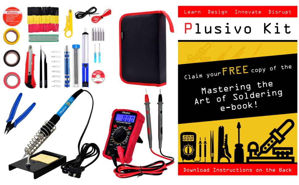 soldering iron kit wick tweezers screwdriver wire pcb prototyping desoldering multimeter heat shrink