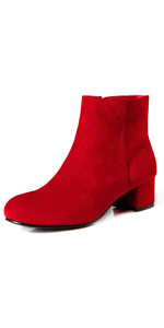 Women's Ankle Boots Low Mid Block Heel Slip On Side Zippers Round Toe Suede Short Booties