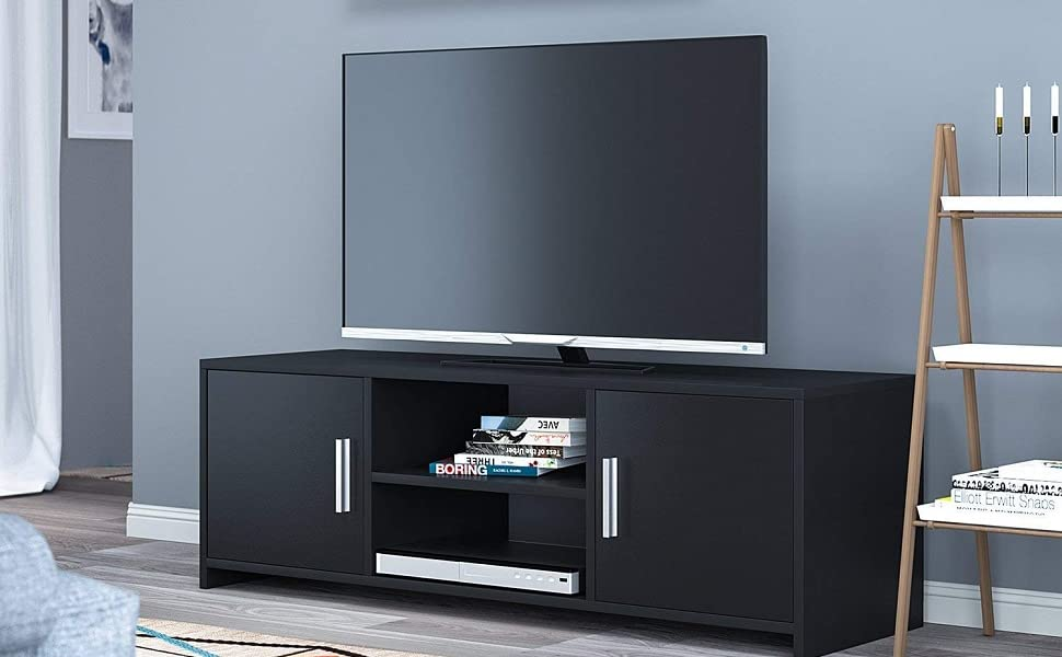 Homfa Mueble TV Salón Mesa para TV Mesa Baja para Televisor Receptor Reproductor DVD con 2 Puertas 1 Estante Negro 110x35x36cm: Amazon.es: Juguetes y juegos