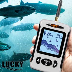 LUCKY Buscador de Profundidad inalámbrico portátil, Sensor de Sonar de Pesca de transductor con Mayor Distancia aérea, Alarma Fishfinder con Pantalla ...