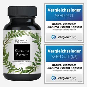Curcuma Curcumin Extrakt Kapseln wirkung pulver natural elements 45 bio vegan amazon pfeffer extract