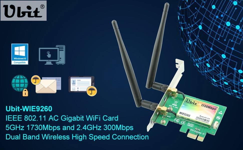 Gigabit WiFi Card, Wireless-AC 9260 Dual Band 2030Mbps(5G-1730Mbps / 2.4G-300Mbps), PCIe WiFi Card, Bluetooth 5.0 Wireless Network Card, PCI-E ...