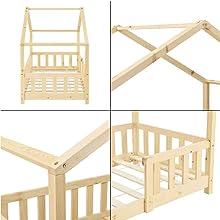 Lit Cabane forme maison pour Enfants Grille Anti-Chute Treviolo 90x200cm bois naturel pin et matelas
