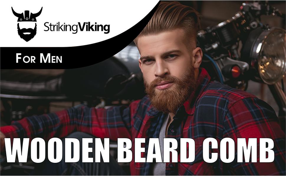 wooden beard comb for men striking viking