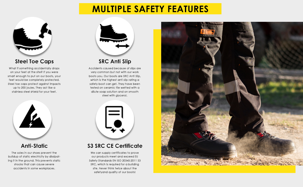 Slip-resistant safety boots are durable SRC anti slip soles