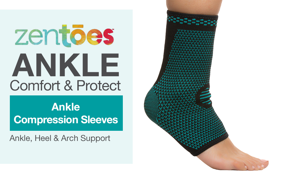 zentoes ankle compression sleeves heel arch support improve blood circulation foot feet left right