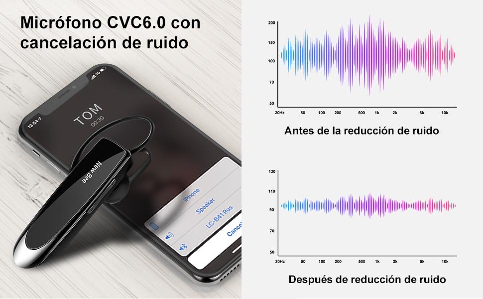 New Bee Auriculares Manos Libres, Auricular Bluetooth Inalámbrico ...