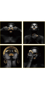 """African American Art Painting Black Woman Black Set of 4 (8""""X10""""  Room for Home"""