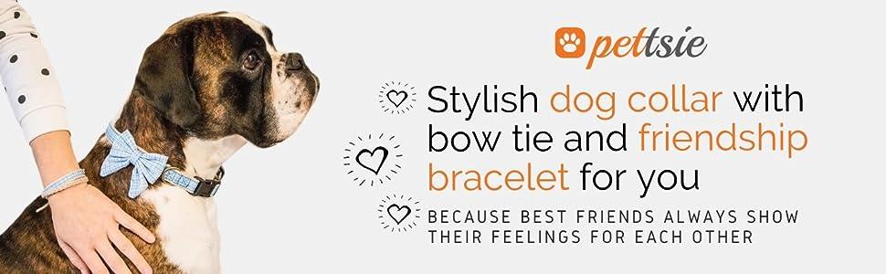 blue dog collar hemp bow tie matching friendship bracelet lightweight puppy puppies cute modern pup