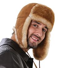 Sheepskin hat for men