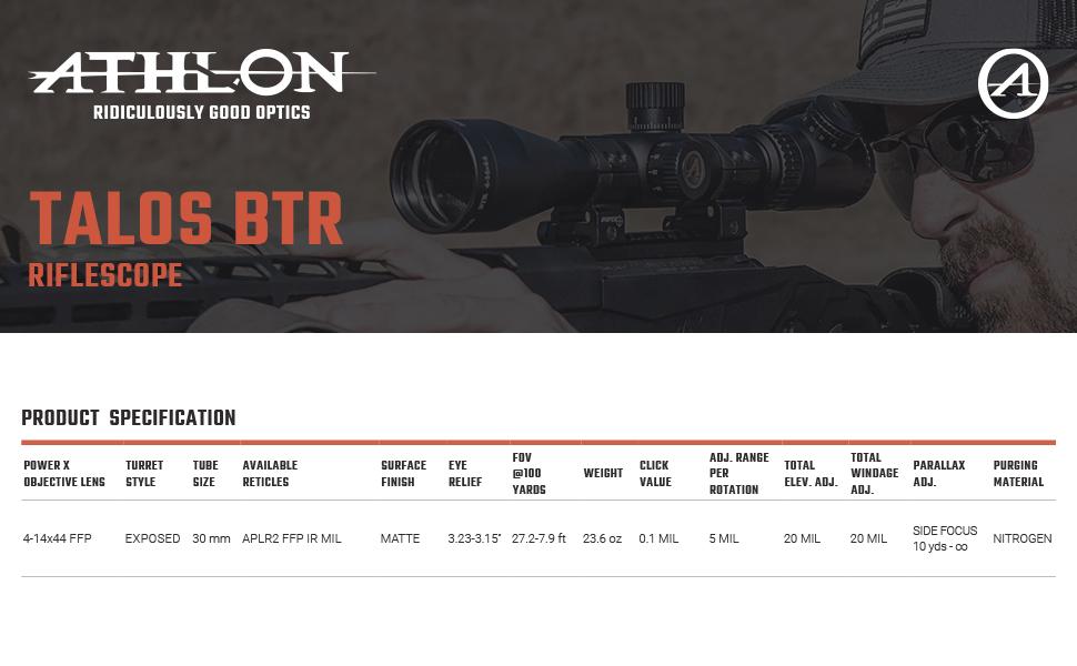 Athlon Optics Talos BTR Riflescope Spcification
