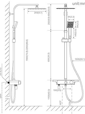 Auralum Columna de Ducha Mezclador de Ducha con Kit de Tabletas Columna Ba/ño 3 Tipos de Chorros