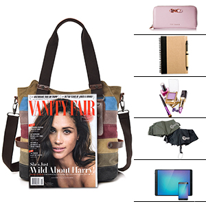 Multi-Color-Striped Canvas Damen Handtasche / Umhängetasche