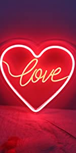 Red heart neon sign