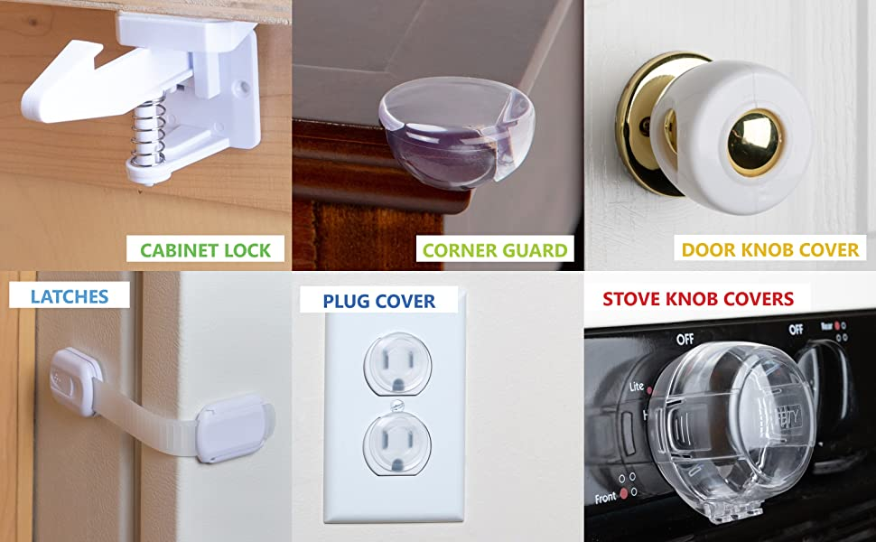 Stock Your Home Baby Proofing Kit (53 Pieces) - Baby Proof Set- Corner Guards, Cabinet Locks