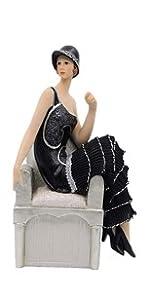 Black Dress Figurine Sitting