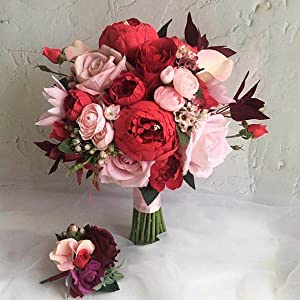 01142-34076 Artificial Flower single peony red