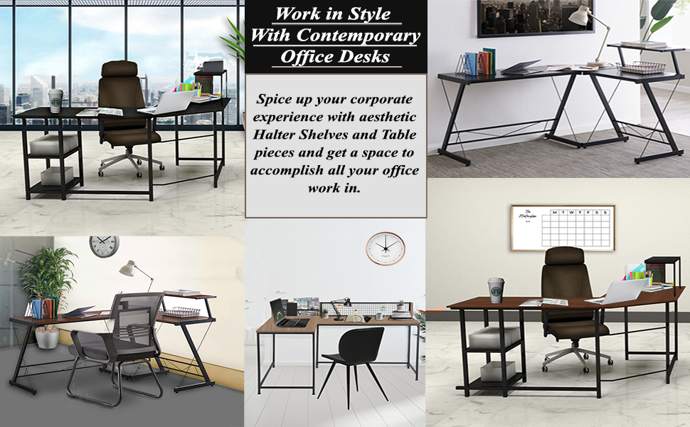 office desk, entry way tables, kitchen racks, desk and shelves combo