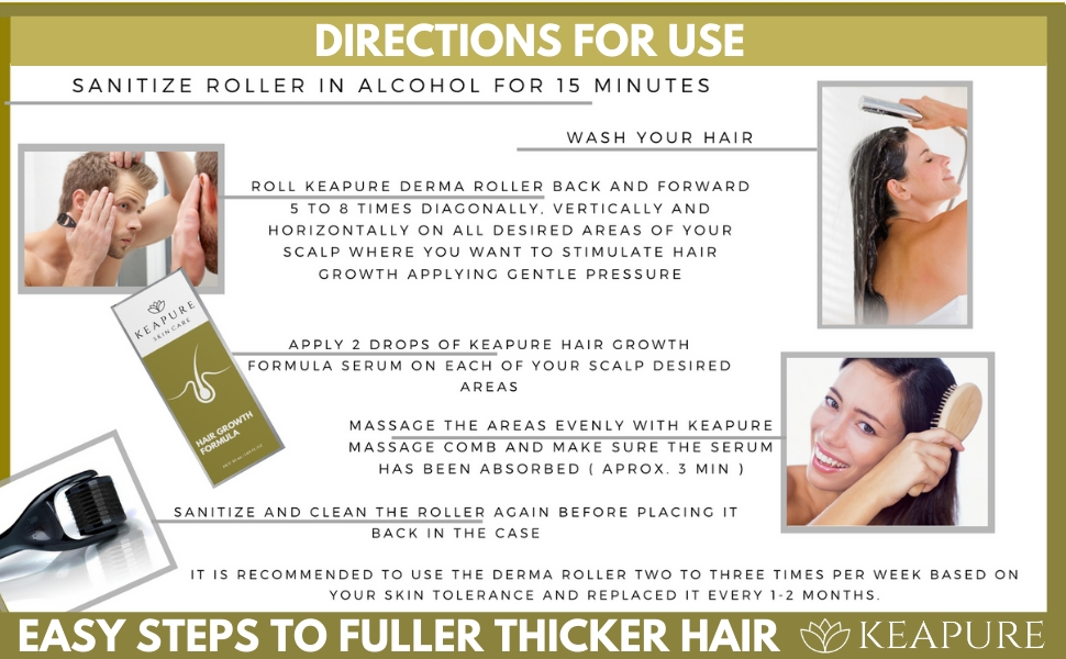 Derma Roller Hair Growth Kit Direction for Use