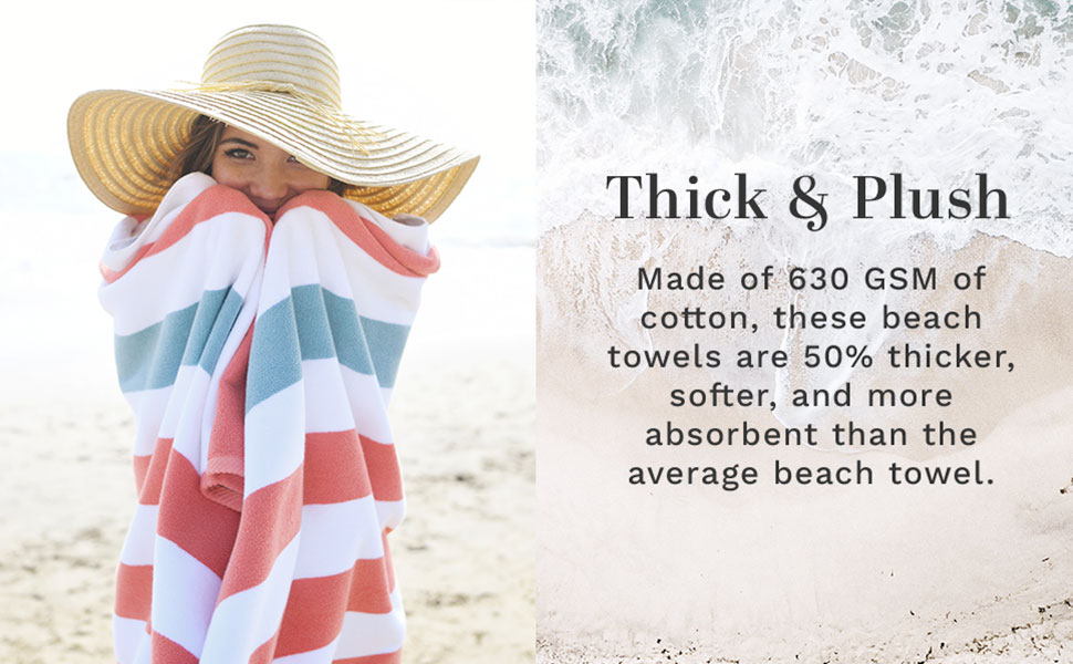 pink coral teal towel beach pool large oversized extra thick premium cabana soft hotel plush stripe