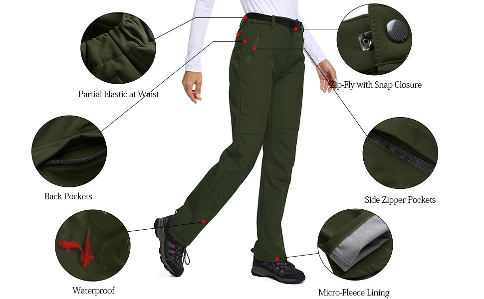 Women's Windproof Waterproof Sportswear Outdoor Hiking Fleece Pants